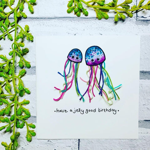 Have a Jelly Good Birthday Card - original pen and ink illustration painted with watercolour