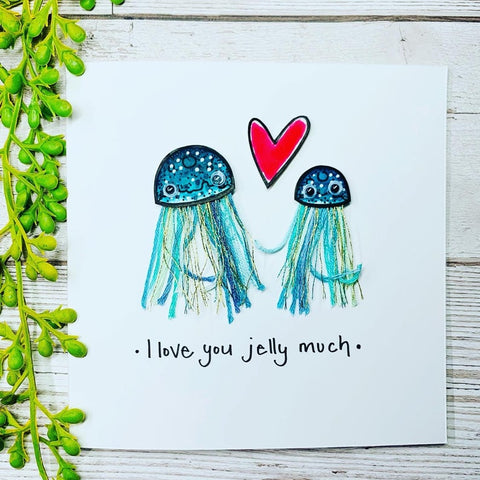 Love You Jelly Much Card - original pen and ink illustration painted with watercolour
