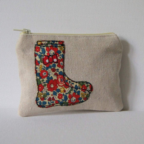 Wellington Boot Coin Purse handmade with liberty fabric in Bristol