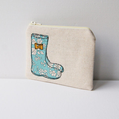 Handmade linen wellington boot coin purse
