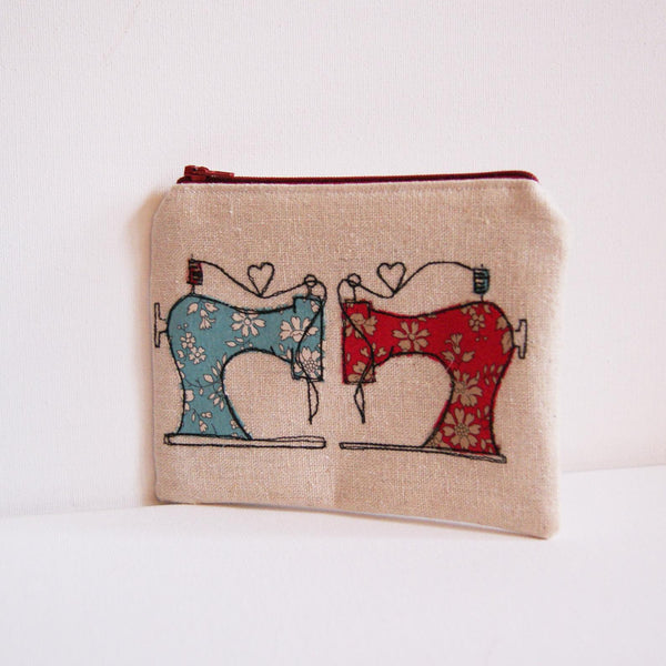 Handmade linen purse with liberty fabric sewing machines