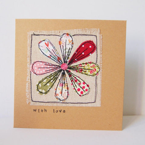 Handmade embroidered greetings card with flower
