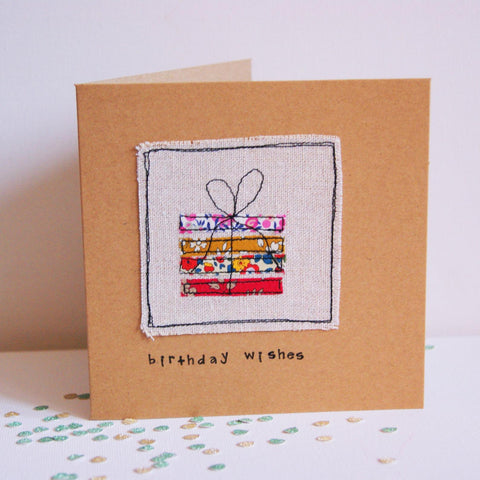 Handmade Birthday Card with embroidered present, handmade in Bristol