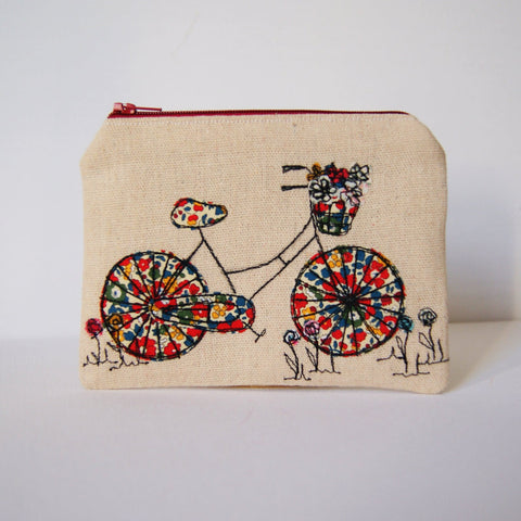 Handmade Linen Purse with Liberty Fabric Bicycle