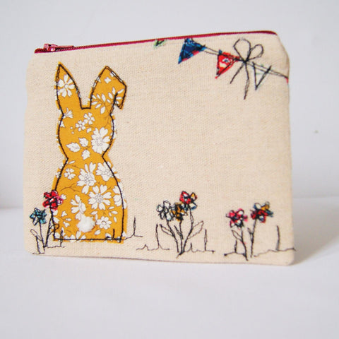 Handmade linen rabbit coin purse