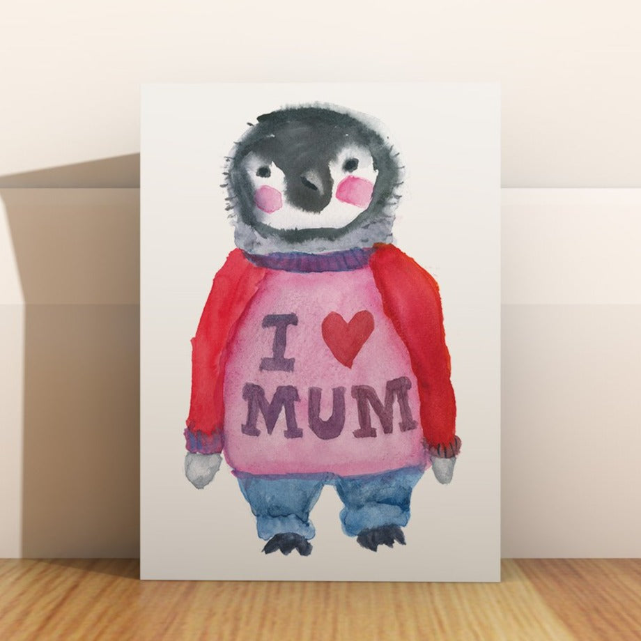 "Penguin Mother's Day Card, ""I love Mum"""