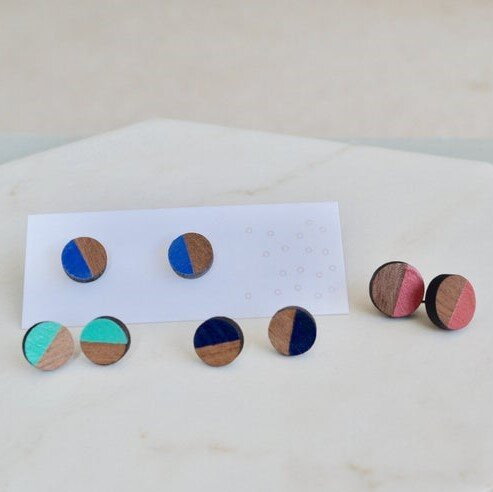 Walnut Mini Half Painted Circle Stud Earrings