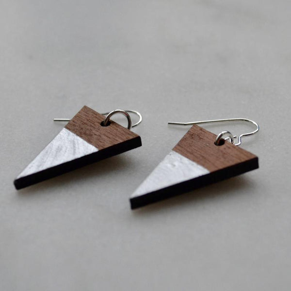 Walnut Triangle Drop Earrings with silver leaf