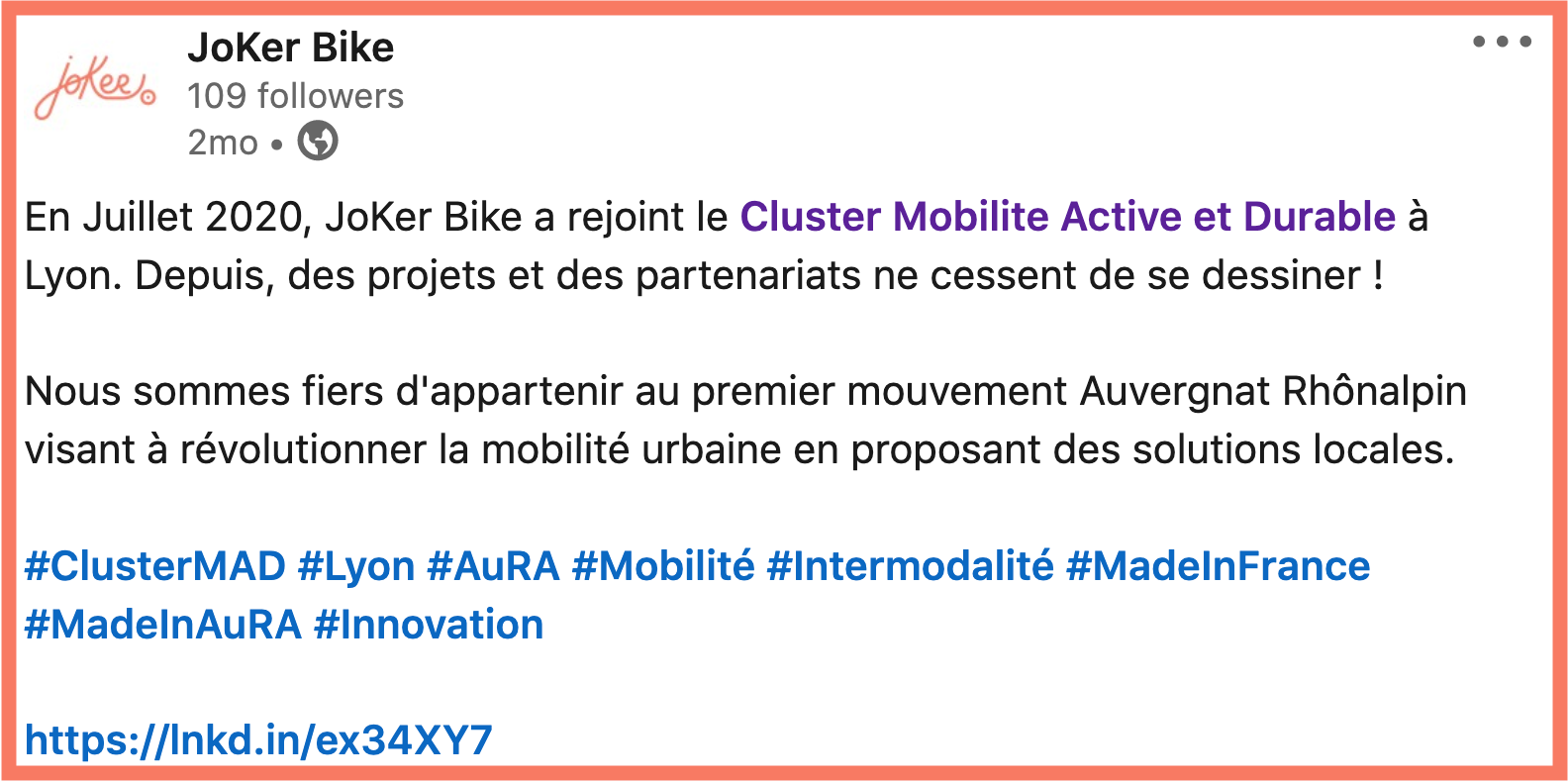JoKer Bike, membre du Cluster Mobilité Active & Durable