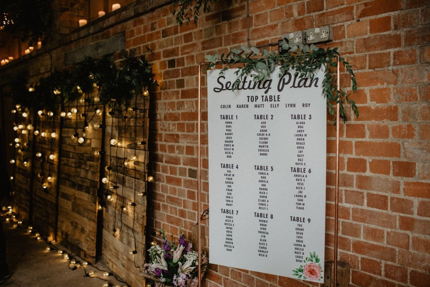 table planners and welcome boards hire Hertfordhire, South East England and London