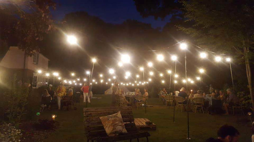 Festoon lights and poles hire in hertfordshire, bedfordshire, buckinghamshire, cambridgeshire, London and South of England