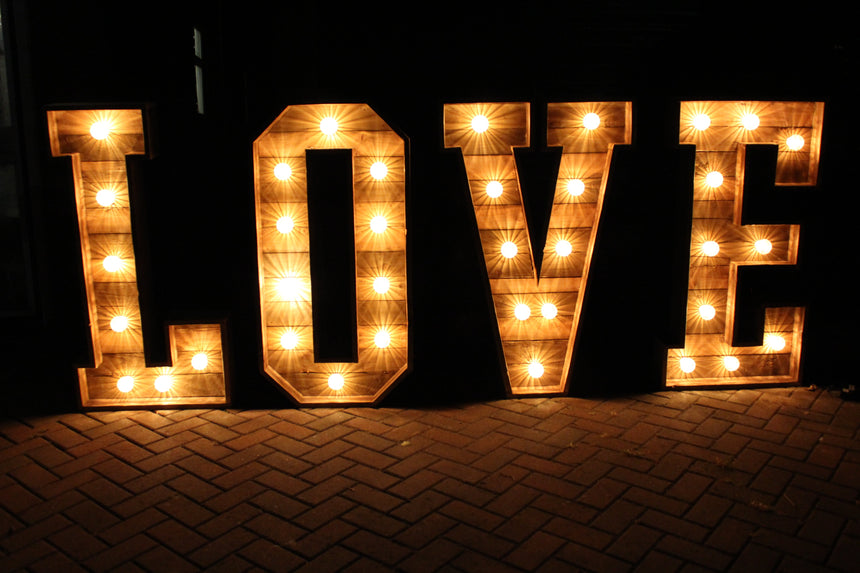 4FT Rustic LED LOVE light up letters for  hire in hertfordshire, bedfordshire, buckinghamshire, cambridgeshire, London and South of England