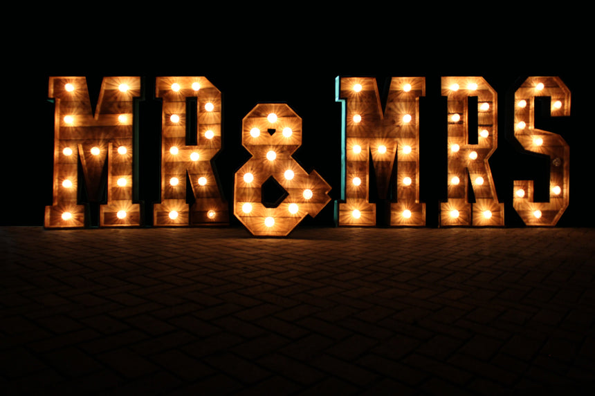 4FT Rustic MR & MRS LED light up letters for  hire in hertfordshire, bedfordshire, buckinghamshire, cambridgeshire, London and South of England