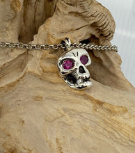 Load image into Gallery viewer, Skull Pendant  with Rubies