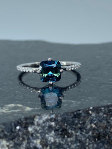 Australian Sapphire with diamond accents