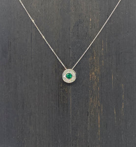 Gatsby Pendant with Emerald and Diamonds