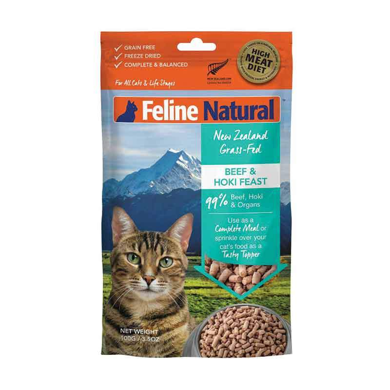FELINE NATURAL FREEZE DRIED BEEF/HOKI 100G