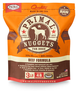 PRIMAL RAW FROZEN BEEF NUGGETS DOG 3LB