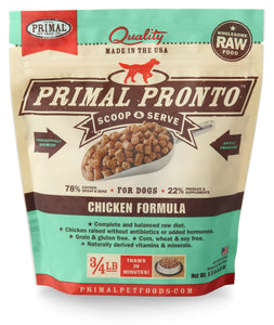 PRIMAL PRONTO CHICKEN DOG 0.75LB