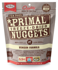 PRIMAL FREEZE DRIED VENISON DOG 5.5OZ