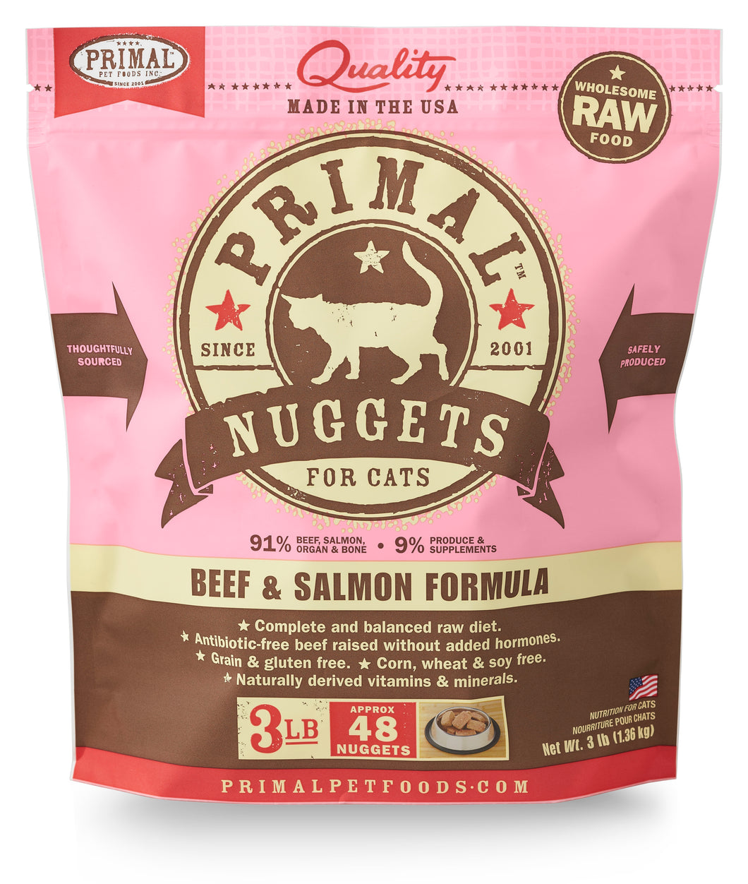 PRIMAL BEEF/SALMON NUGGETS CAT 3LB
