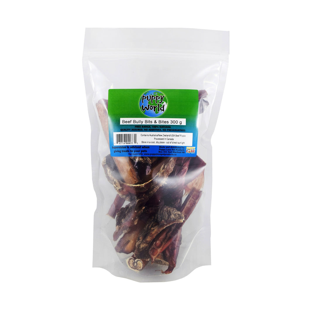 PUPPY WORLD NEW ZEALAND BEEF BULLY BITS & BITES 300G