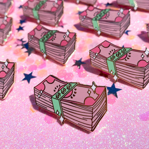 Pink Money Stack Enamel Pin - Travartsy