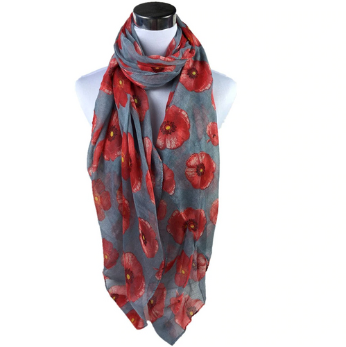 Red Poppy Wrap Scarf - Grey - Gifti | Gifts they will love