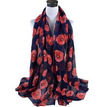 Load image into Gallery viewer, Red Poppy Wrap Scarf - Navy - Gifti | Gifts they will love