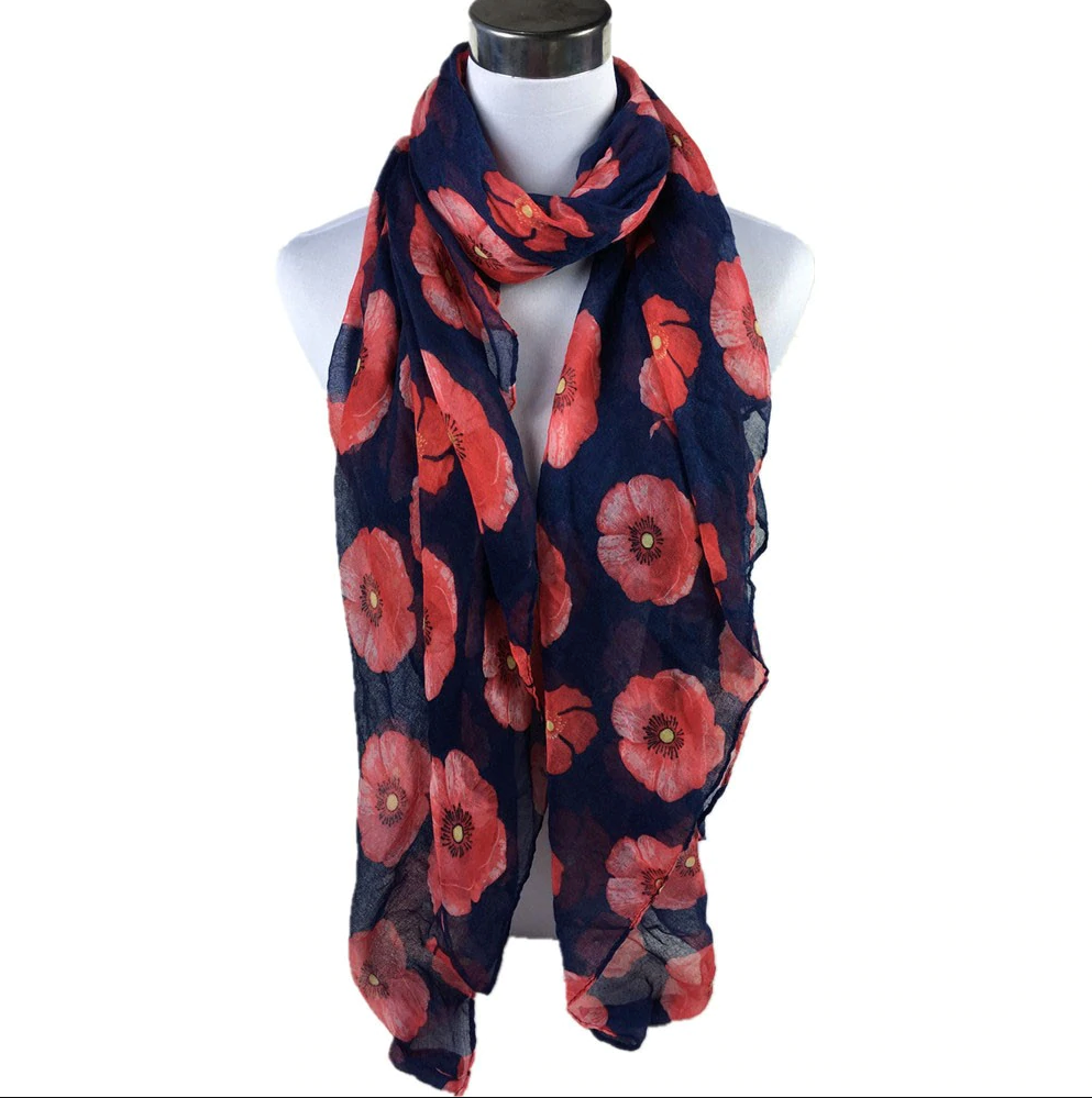 Red Poppy Wrap Scarf - Navy - Gifti | Gifts they will love