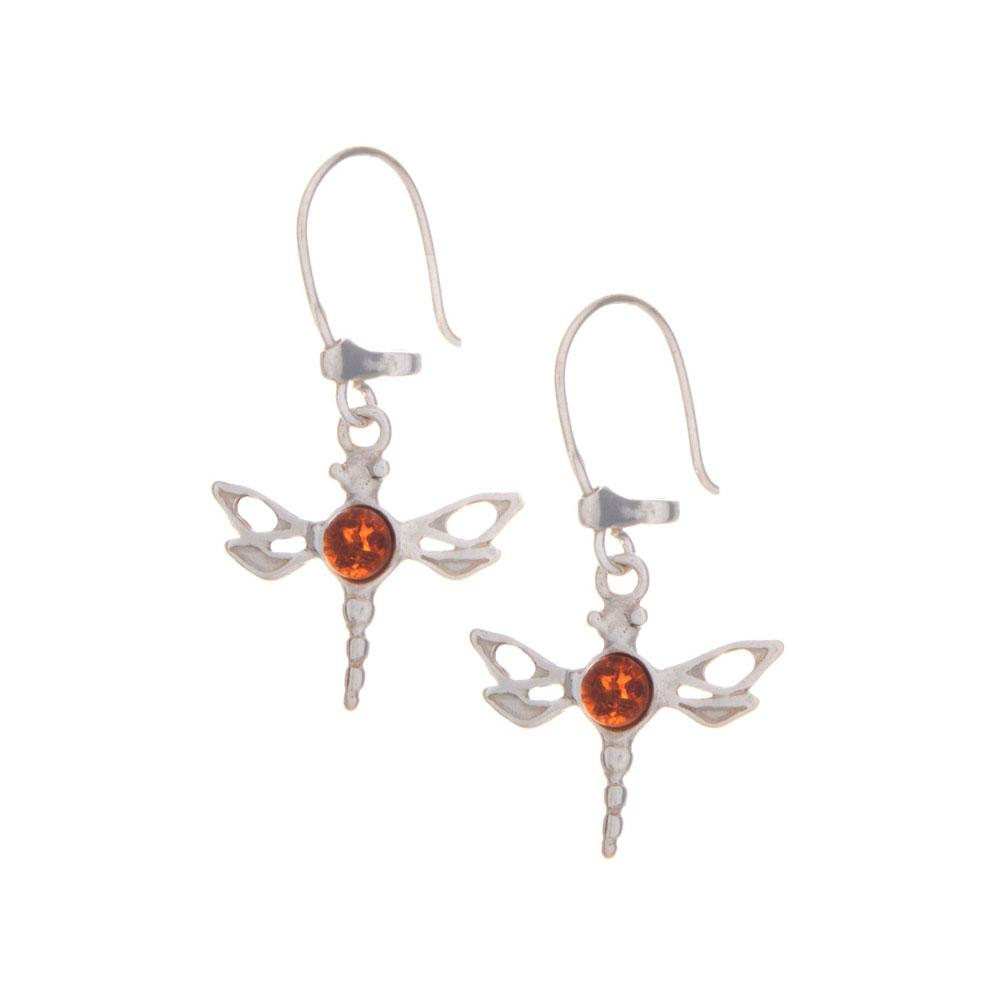 Amber Dragonfly Earrings 925 Silver - Gift idea for Her - Gifti | Gifts they will love