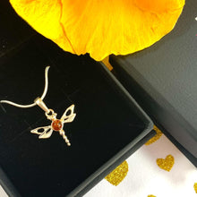 Load image into Gallery viewer, Amber Dragonfly Pendant & Necklace 925 Silver - Gift Idea for Her - Gifti | Gifts they will love
