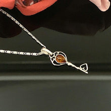Load image into Gallery viewer, Amber Key Pendant & Necklace - 925 Silver - Gifti | Gifts they will love