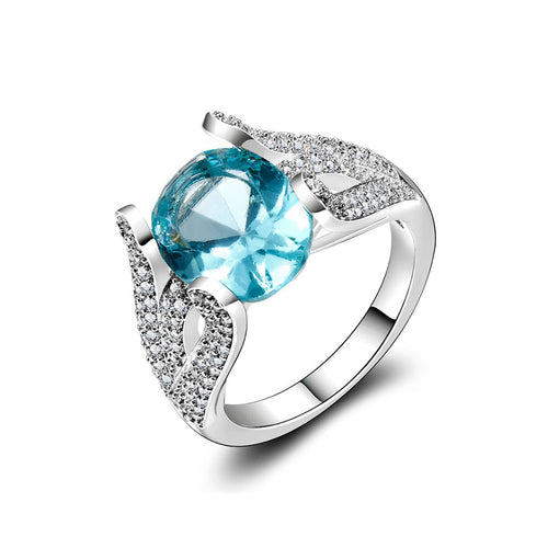 Aquamarine CZ Dress Ring - 925 Silver - Gifti | Gifts they will love