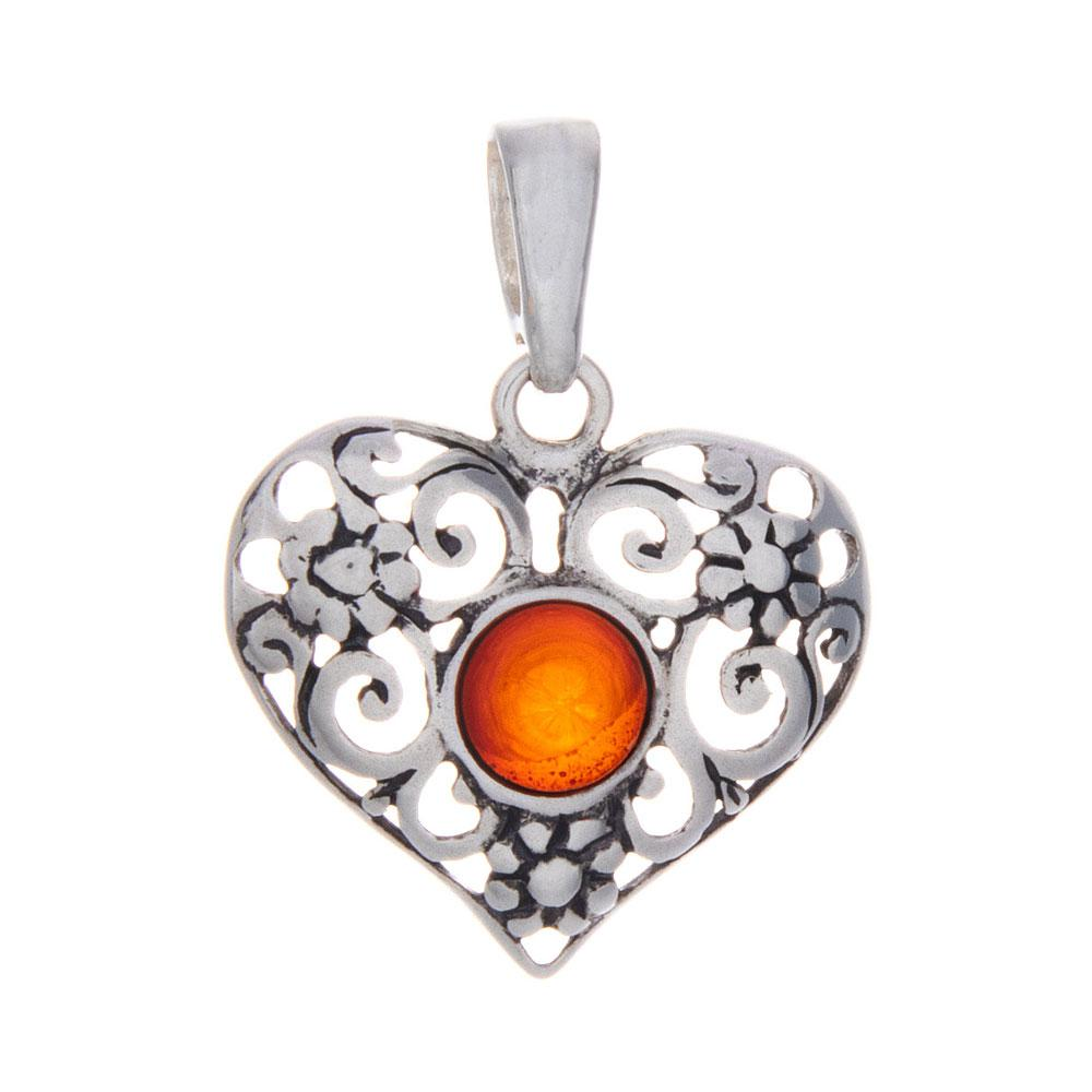 Baltic Amber Filigree Heart Pendant and Necklace - 925 Silver - Gifti | Gifts they will love