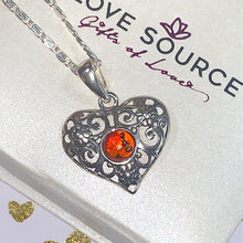 Load image into Gallery viewer, Baltic Amber Filigree Heart Pendant and Necklace - 925 Silver - Gifti | Gifts they will love