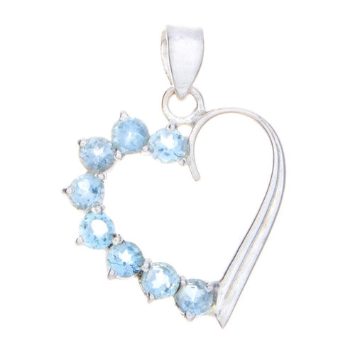 Blue Topaz Heart Pendant and Necklace - 925 Silver - Gifti | Gifts they will love