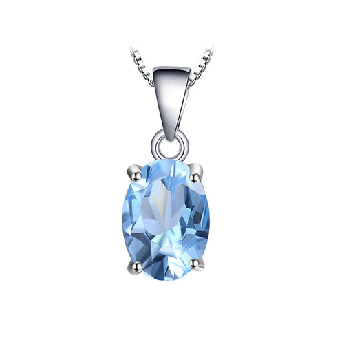 Blue Topaz Oval Cut Pendant & Necklace - Gift Ideas for Her - Gifti | Gifts they will love