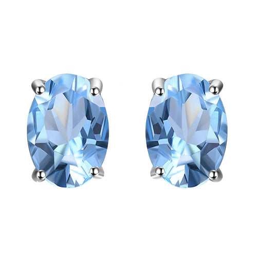 Blue Topaz Oval Cut Stud Earrings - 925 Silver - Gifti | Gifts they will love