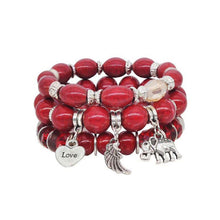 Load image into Gallery viewer, Bohemian Bead Elephant Love Bracelet Stack - Red - Gifti | Gifts they will love