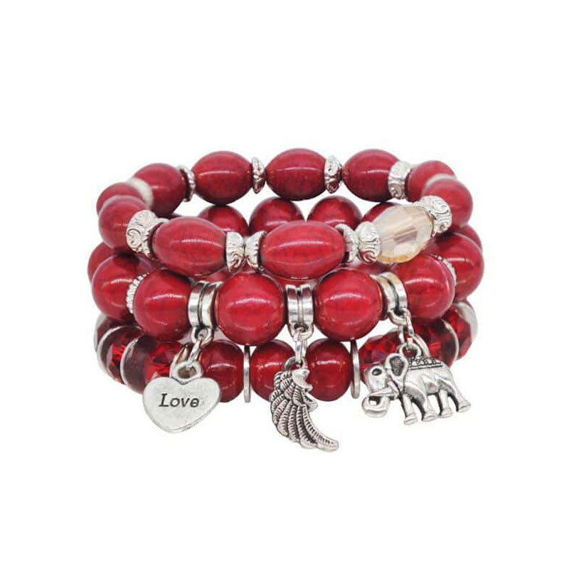 Bohemian Bead Elephant Love Bracelet Stack - Red - Gifti | Gifts they will love