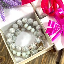 Load image into Gallery viewer, Bohemian Bead Elephant Love Bracelet Stack - White - Gifti | Gifts they will love