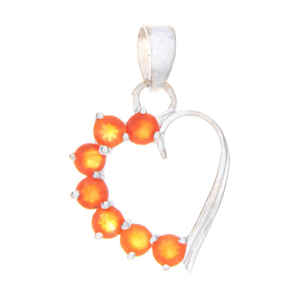 Carnelian Heart Pendant and Necklace - 925 Silver - Gifti | Gifts they will love