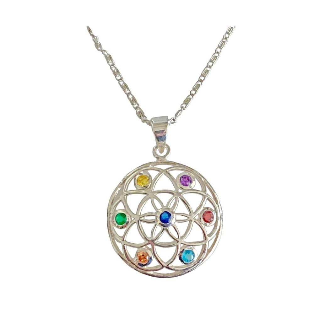 Chakra Geometric Pendant & Necklace with Crystals - 925 Silver - Gifti | Gifts they will love