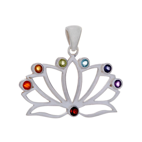 Chakra Lotus Flower Pendant & Necklace with Gemstones - 925 Silver - Gifti | Gifts they will love