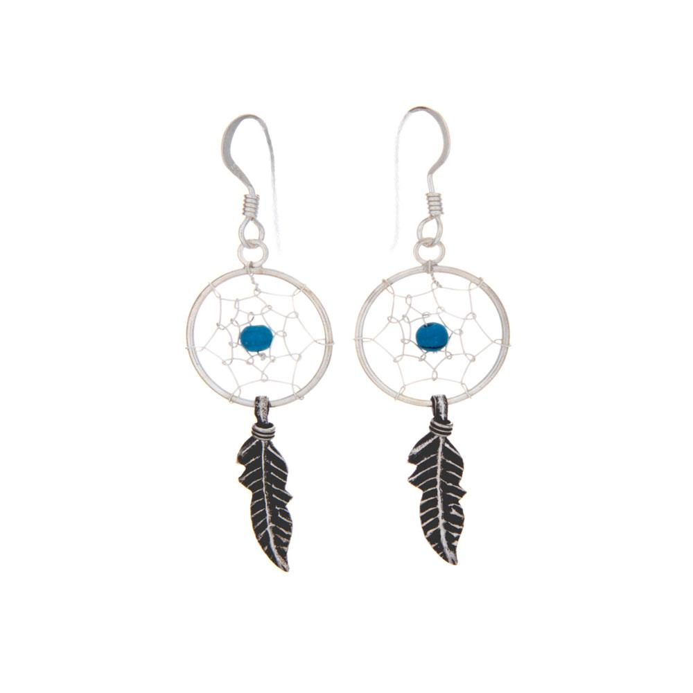 Dream Catcher Earrings with Beads - 925 Silver - Gifti | Gifts they will love