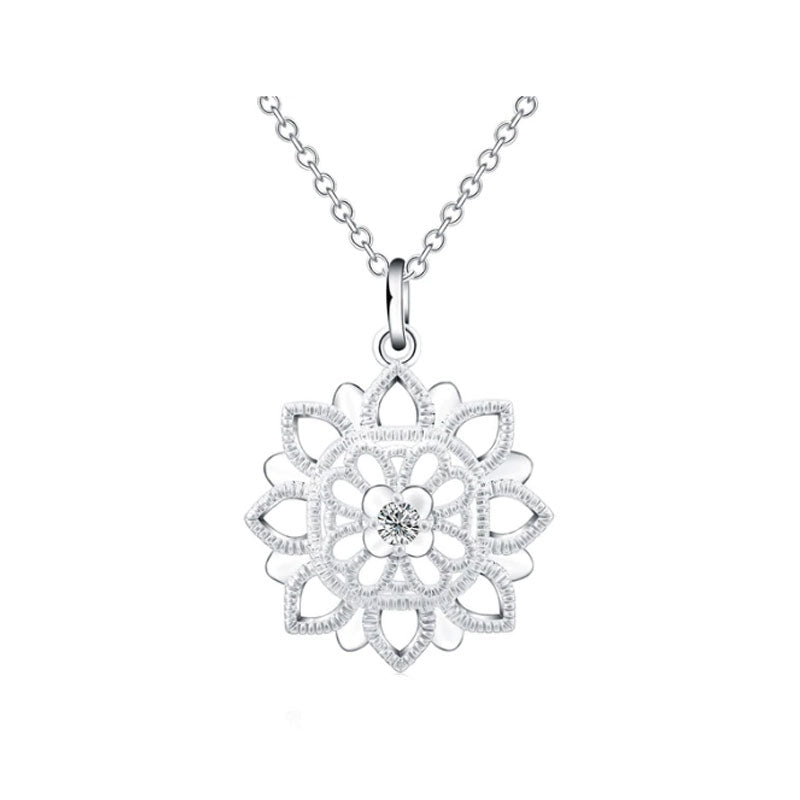 Flower Snowflake Pendant & Necklace - Silver - Gifti | Gifts they will love