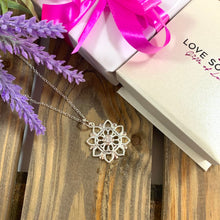 Load image into Gallery viewer, Flower Snowflake Pendant & Necklace - Silver - Gifti | Gifts they will love