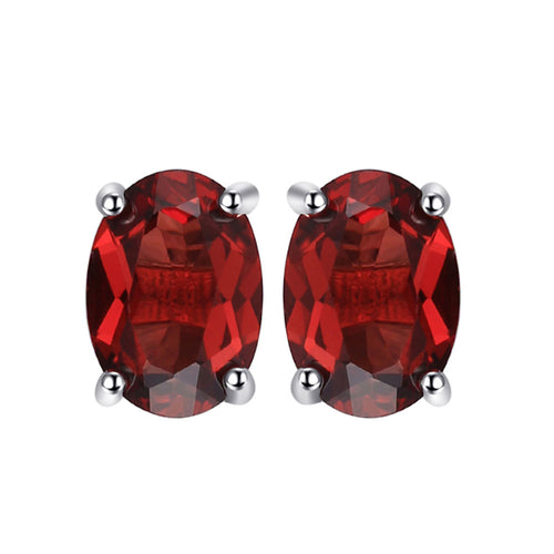 Garnet Oval Cut Stud Earrings - 925 Silver - Gift of Love - Gifti | Gifts they will love
