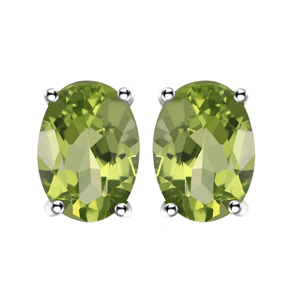 Green Peridot Oval Cut Stud Earrings - 925 Silver - Gifti | Gifts they will love